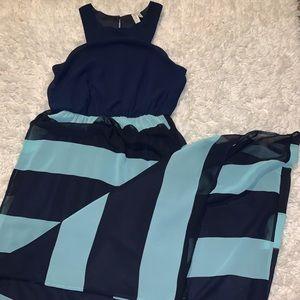 Navy and Light Blue Maxi Dress